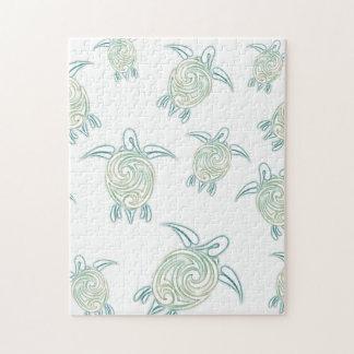 ウミガメパターン白い緑 ジグソーパズル