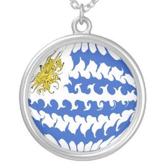 ウルグアイのすごい旗 シルバープレートネックレス