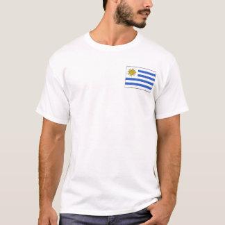 ウルグアイの旗および地図のTシャツ Tシャツ