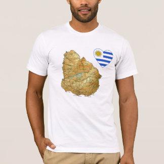 ウルグアイの旗のハートおよび地図のTシャツ Tシャツ