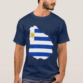 ウルグアイの旗の地図 Tシャツ