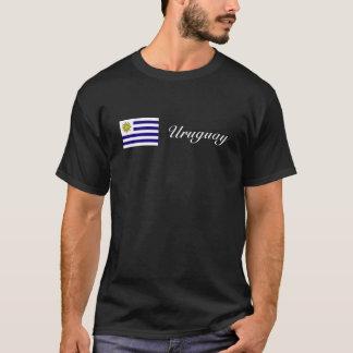 ウルグアイの旗の筆記体のティー Tシャツ