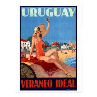 ウルグアイVeraneoの理想的なヴィンテージ旅行ポスター ポストカード