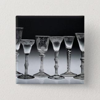エアねじれガラス1750-60年 5.1CM 正方形バッジ
