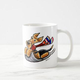 エア川Sledding Airedaleテリア コーヒーマグカップ