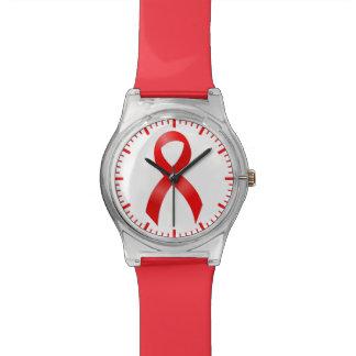 エイズ及びHIV |の心臓病及び打撃-赤いリボン 腕時計