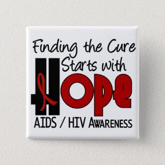エイズHIVの希望4 5.1CM 正方形バッジ