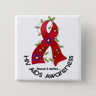 エイズHIVの花のリボン1 5.1CM 正方形バッジ