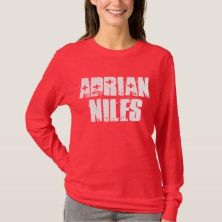 エイドリアンNilesの女性の長袖深紅のT Tシャツ