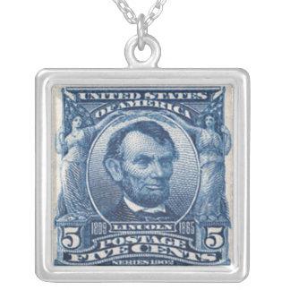 エイブラハム・リンカーンの切手のネックレス シルバープレートネックレス