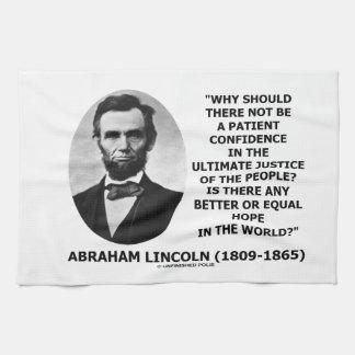 エイブラハム・リンカーンの忍耐強い自信の正義の引用文 キッチンタオル