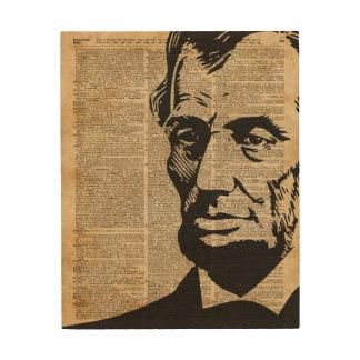 エイブラハム・リンカーンの歴史的ヴィンテージ辞書の芸術 ウッドウォールアート