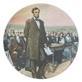 エイブラハム・リンカーンはGettysburgの住所を暗誦します プレート