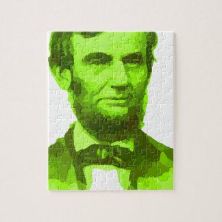 エイブラハム・リンカーン大統領の緑の顔PORTRAITGifts ジグソーパズル
