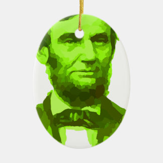 エイブラハム・リンカーン大統領の緑の顔PORTRAITGifts セラミックオーナメント