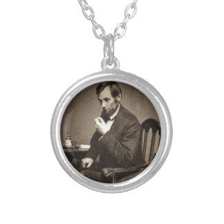 エイブラハム・リンカーン大統領1862 STEREOVIEW シルバープレートネックレス