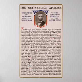 エイブラハム・リンカーン1863年著Gettysburgの住所 ポスター