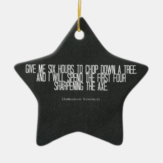 """エイブラハム・リンカーン""""木の下のチョップ""""の引用文 セラミックオーナメント"""