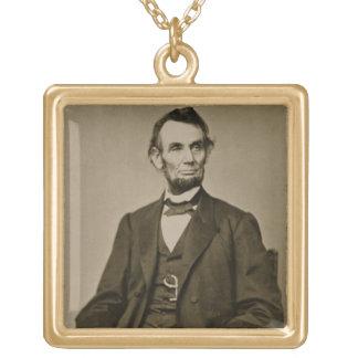 エイブラハム・リンカーン(1809-65年)のポートレート(b/wの写真) ゴールドプレートネックレス