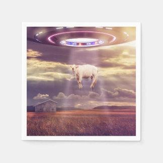 エイリアンのファンタジーの芸術によって誘拐される牛 スタンダードカクテルナプキン