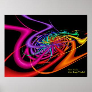 エイリアンはモダンでカラフルな抽象美術を振ります ポスター