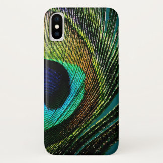 エキゾチックでカラフルな孔雀の羽の写真の電話箱 iPhone X ケース