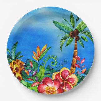 エキゾチックでカラフルな花のジャングル-アロハ ペーパープレート