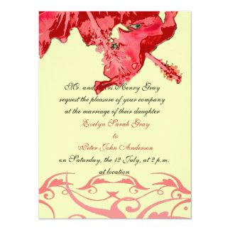 エキゾチックで赤いハイビスカスのブロケードの結婚式招待状 14 X 19.1 インビテーションカード