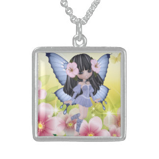 エキゾチックで、すばらしいブルネットのプリンセスの妖精の女の子 スターリングシルバーネックレス