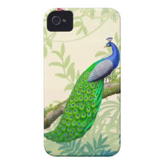 エキゾチックなインドの青い孔雀のブラックベリーのはっきりしたな箱 Case-Mate iPhone 4 ケース