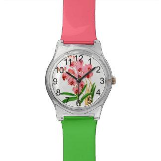 エキゾチックなピンクの蘭の腕時計 腕時計