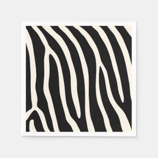 エキゾチックな動物のシマウマは黒で縞で飾ります スタンダードカクテルナプキン