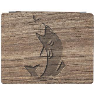 エキゾチックな堅材で切り分ける魚のレリーフ、浮き彫りの跳躍 iPadスマートカバー