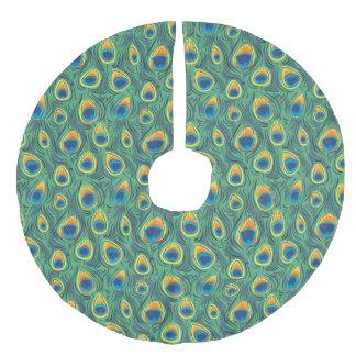 エキゾチックな孔雀の羽パターン宝石の緑 フェイクリネンツリースカート
