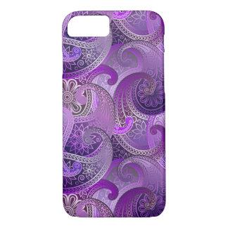 エキゾチックな紫色のBohoのペイズリーパターン iPhone 8/7ケース