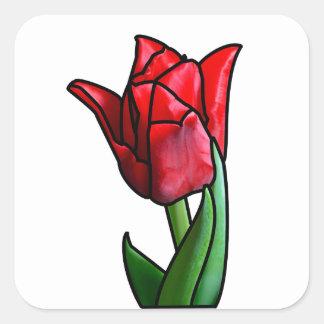 エキゾチックな赤のステンドグラスのチューリップ スクエアシール
