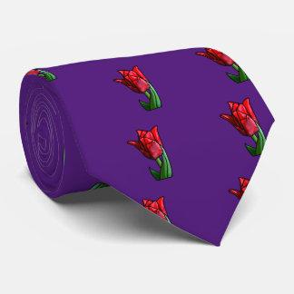 エキゾチックな赤のステンドグラスのチューリップ ネクタイ