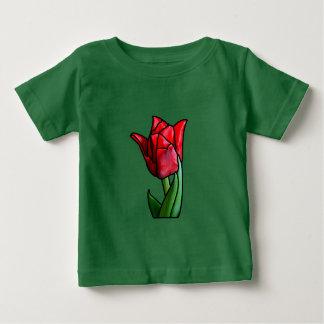 エキゾチックな赤のステンドグラスのチューリップ ベビーTシャツ