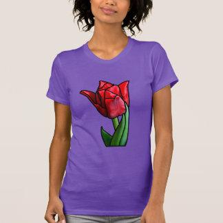 エキゾチックな赤のステンドグラスのチューリップ Tシャツ