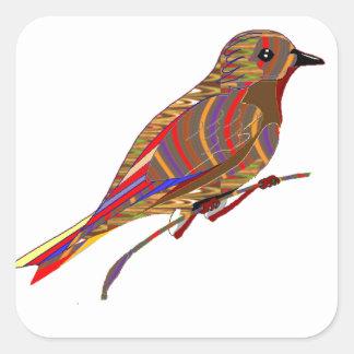 エキゾチックな鳥: 野生ペット動物園の写実的な低価格のギフト スクエアシール