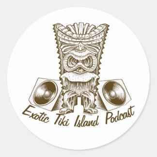 エキゾチックなTikiの島のポッドキャストのステッカー ラウンドシール