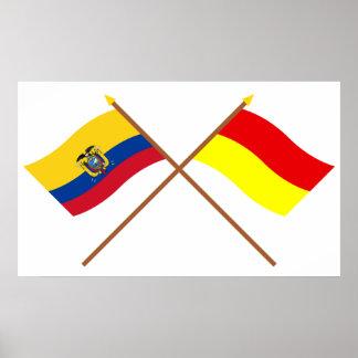 エクアドルおよびAzuayの交差させた旗 ポスター
