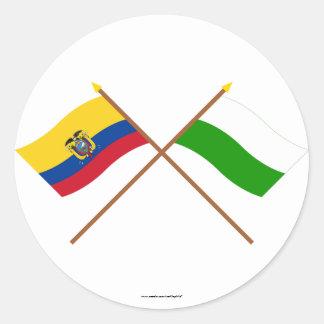 エクアドルおよびEsmeraldasの交差させた旗 ラウンドシール