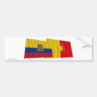 エクアドルおよびPichinchaの振る旗 バンパーステッカー