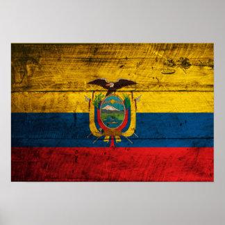 エクアドルの古い木の旗 ポスター