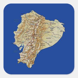 エクアドルの地図のステッカー スクエアシール