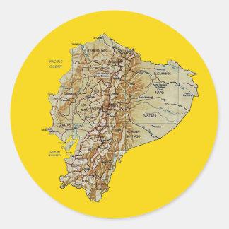 エクアドルの地図のステッカー ラウンドシール