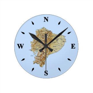 エクアドルの地図の時計 ラウンド壁時計