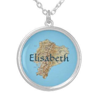 エクアドルの地図 + 一流のネックレス シルバープレートネックレス
