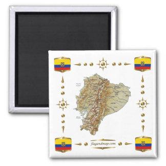 エクアドルの地図 + 旗の磁石 マグネット